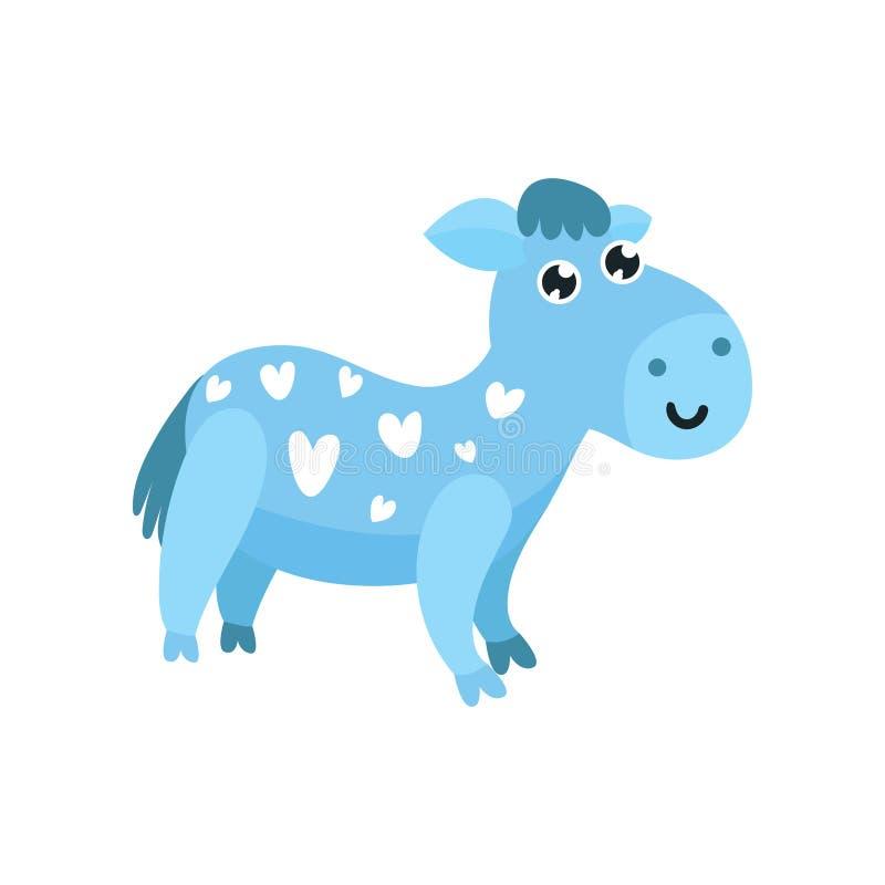 Asno azul dos desenhos animados bonitos com corações em sua ilustração do vetor do corpo ilustração royalty free