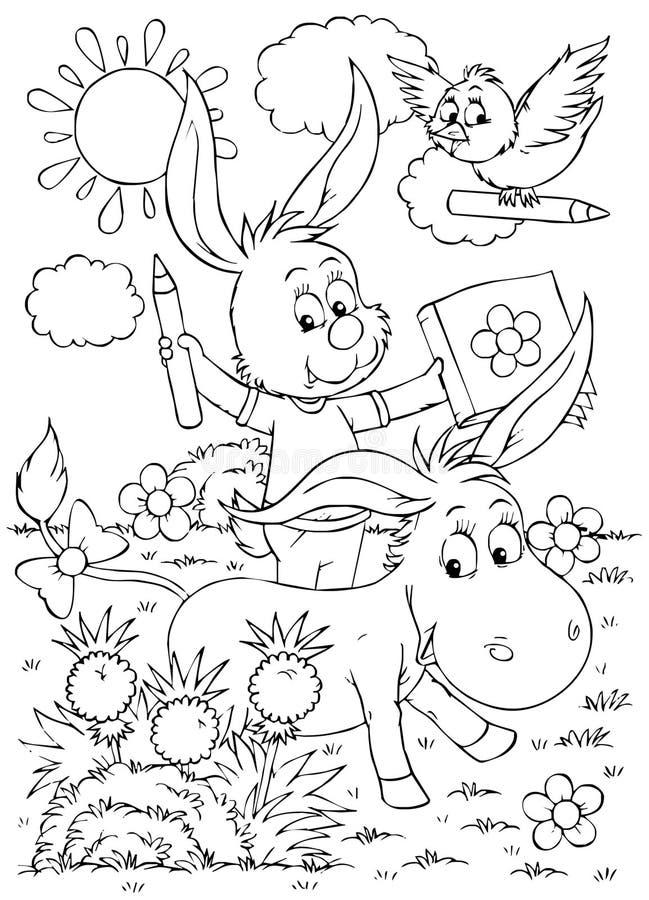 Asno, coelho e pássaro ilustração do vetor