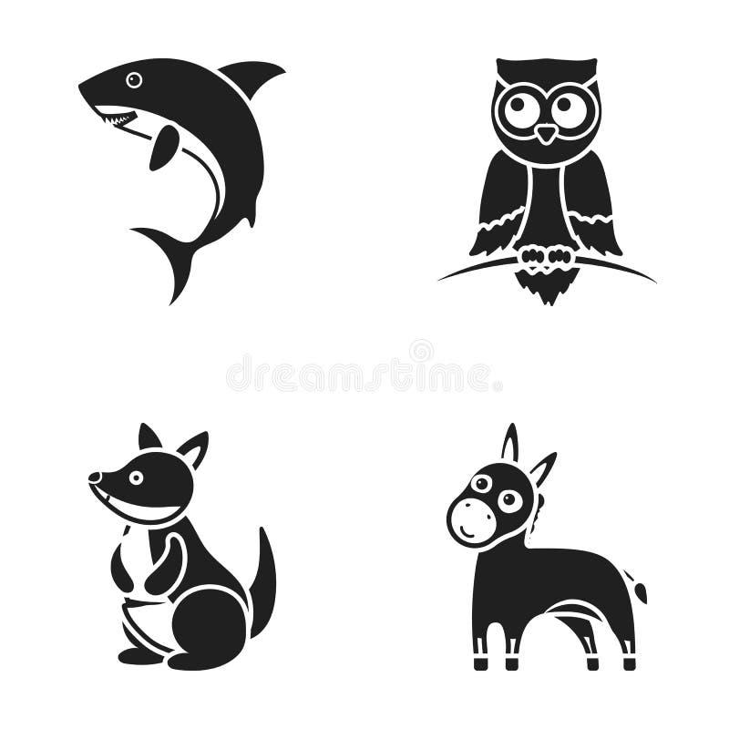 Asno, coruja, canguru, tubarão Os ícones ajustados da coleção do animal no estilo preto vector a Web conservada em estoque da ilu ilustração stock
