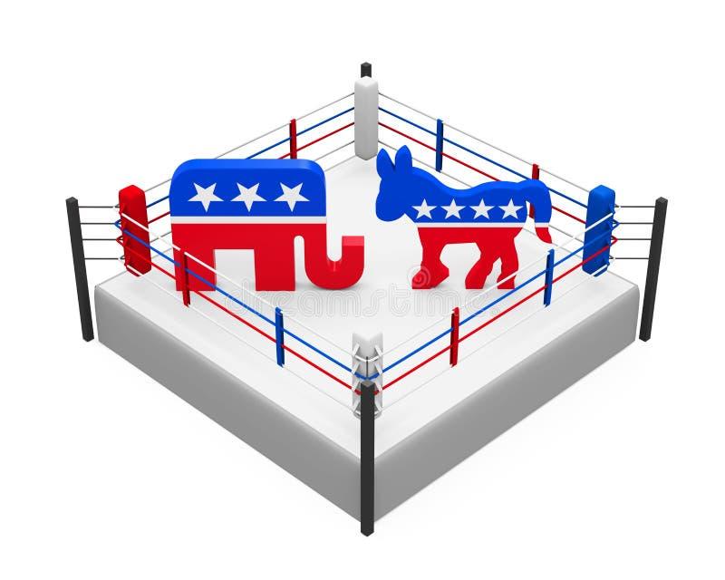 Asno de Democrat e elefante republicano ilustração do vetor