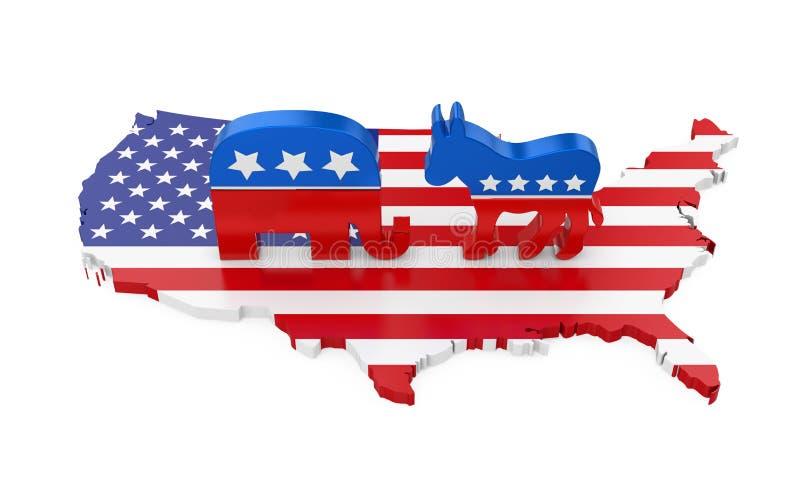 Asno de Democrata e elefante republicano com a bandeira do mapa de América ilustração royalty free