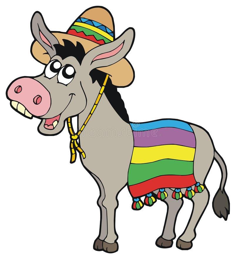Asno mexicano com sombrero ilustração royalty free