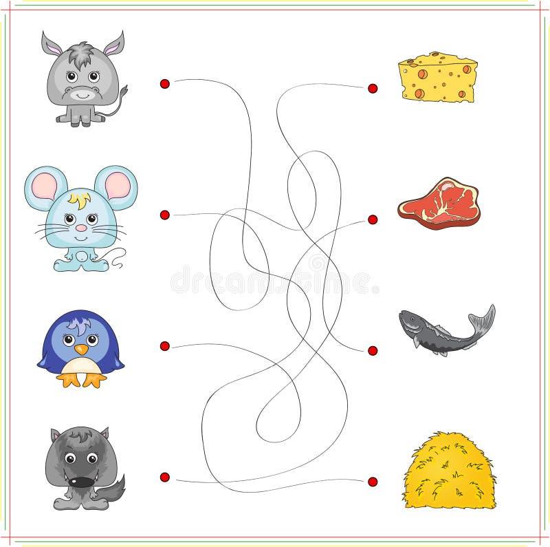 Asno, rato, pinguim e lobo com seu alimento (queijo, carne, f ilustração do vetor