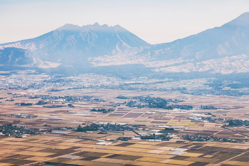 Aso火山在冬天 免版税库存照片