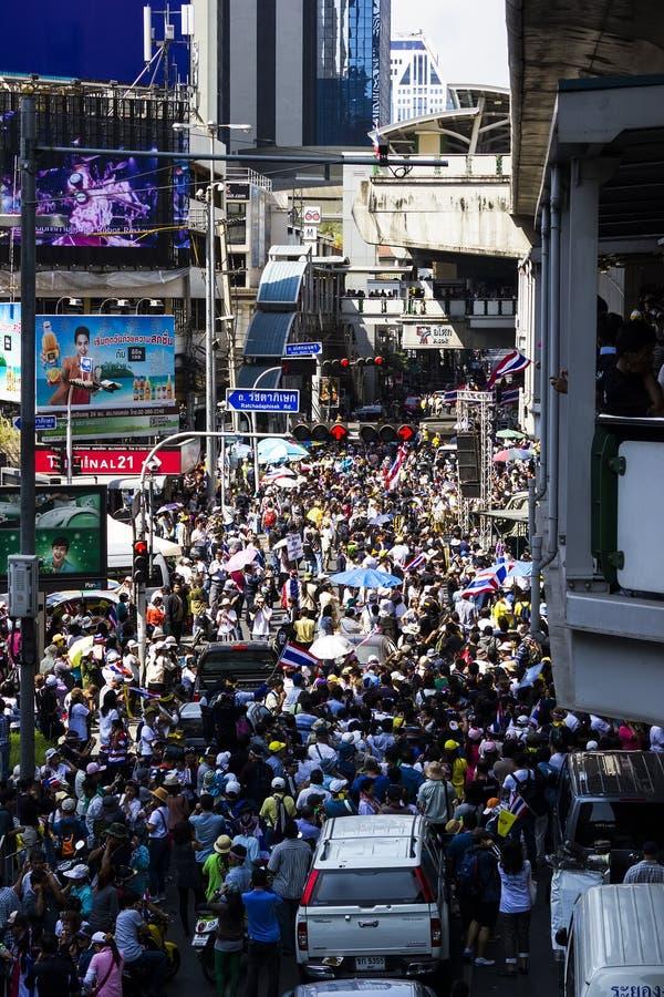 Asoke的曼谷抗议者 库存照片