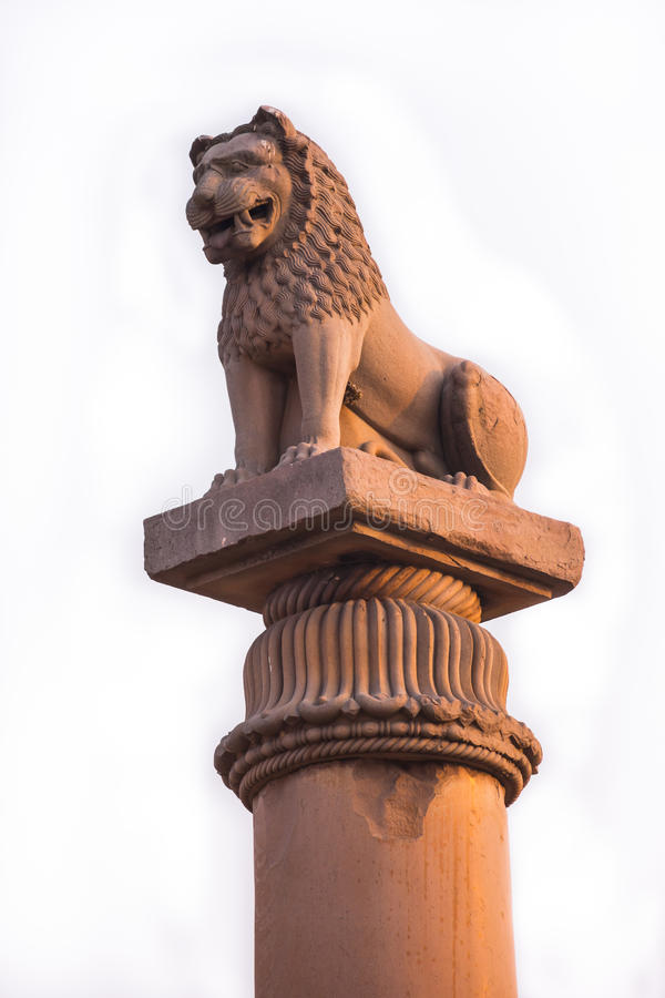 Asoke Pillar. It is an ancient stone pillar built by Ashoka the Great. Emperor of the Mauryan Dynasty,There will be a carved lion head is enshrined. It stock photos