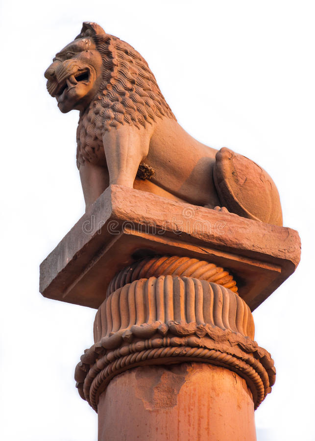 Asoke Pillar. It is an ancient stone pillar built by Ashoka the Great. Emperor of the Mauryan Dynasty,There will be a carved lion head is enshrined. It royalty free stock photo
