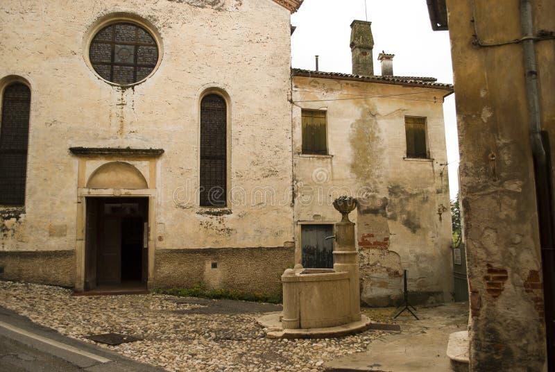 Asolo, η όμορφη ενετική πόλη, στην επαρχία του Treviso, διάσημη για τις παλαιές εκθέσεις του στοκ εικόνα
