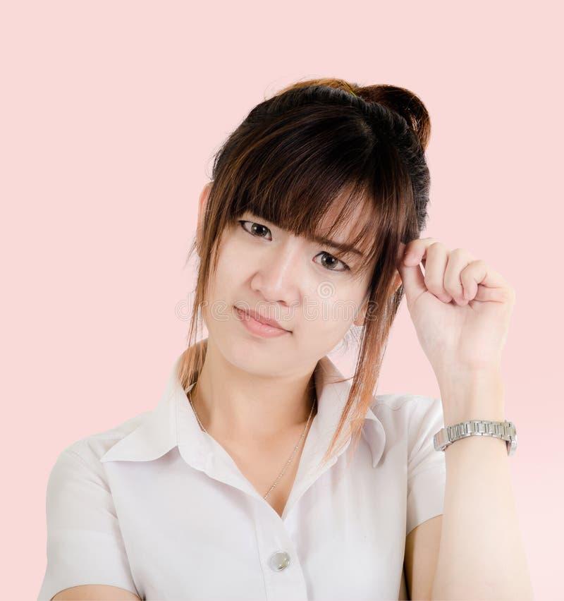 Asombrosamente asiático feliz de la mujer joven aislada fotos de archivo libres de regalías