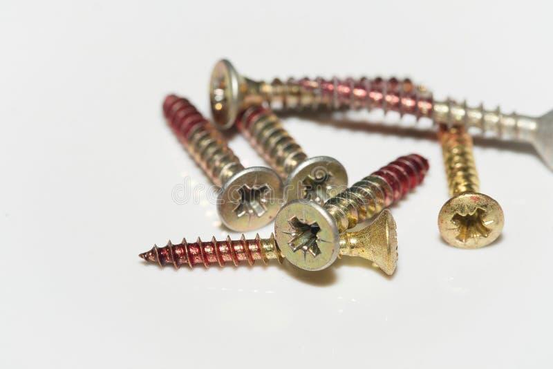 Asortment of iron screws stock photo