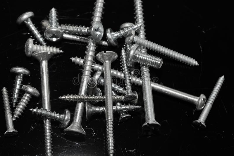 Asortment of iron screws stock image