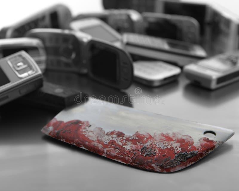 asortowana krwista nożowa telefon komórkowy broń obrazy royalty free