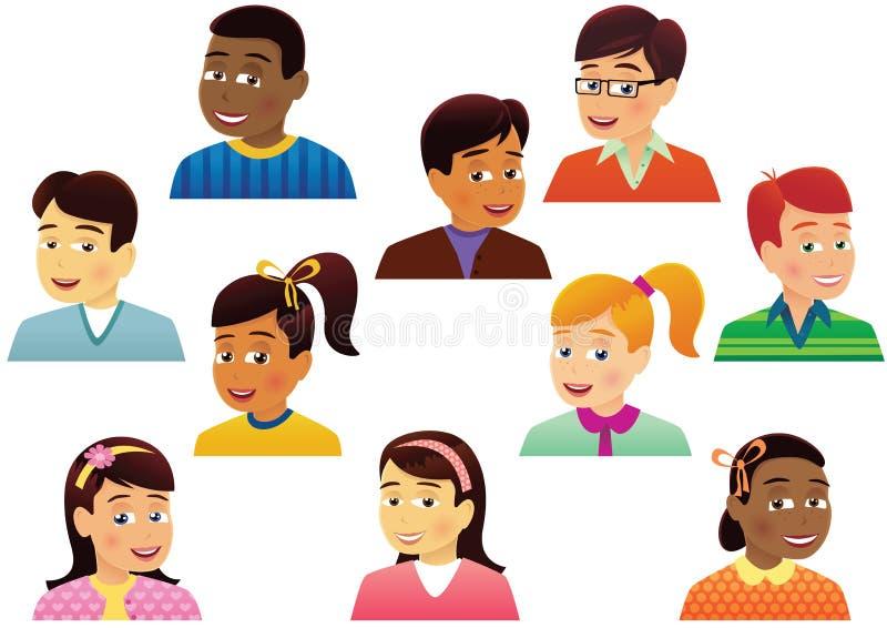 Asortowane children głowy royalty ilustracja