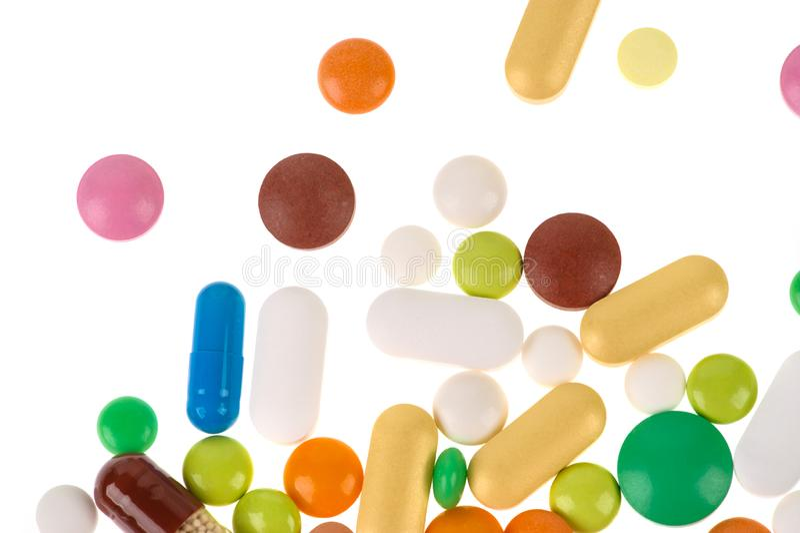 Asortowane farmaceutyczne medycyn pigu?ki, pastylki i kapsu?y, tabletek szereg przedsi?biorstw t?o zdjęcie stock