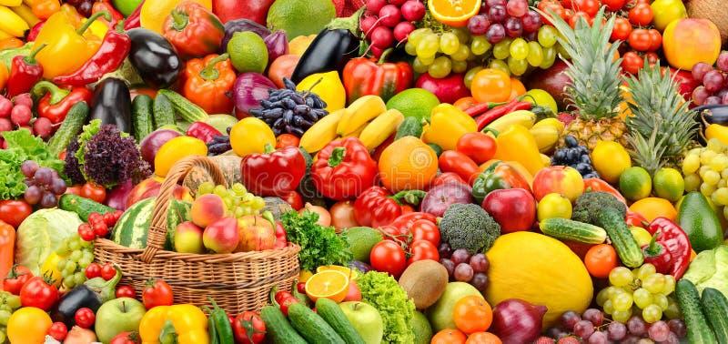 Asortowani świezi dojrzali owoc i warzywo Karmowy pojęcia backgrou zdjęcie stock