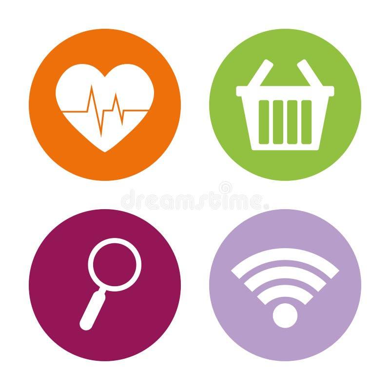 asortowany app zapina ikona wizerunek royalty ilustracja