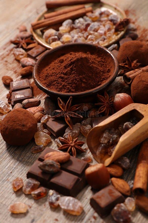 Asortowany kakao, dokrętka i cukier, obraz royalty free
