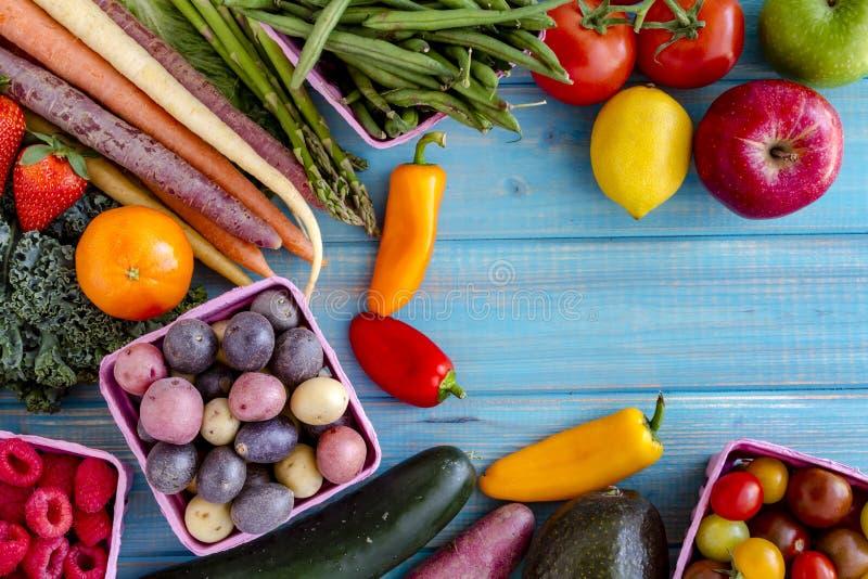Asortowany owoc i warzywo tło zdjęcie stock