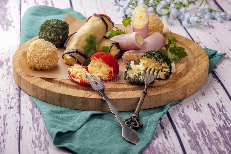 Asortowany ser w koloru breading zdjęcia stock