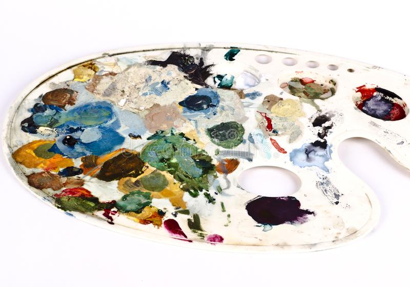 Asortowany suszy kolory na malarz palecie fotografia royalty free