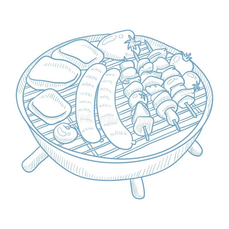 Asortowany wyśmienicie piec na grillu mięso ilustracja wektor
