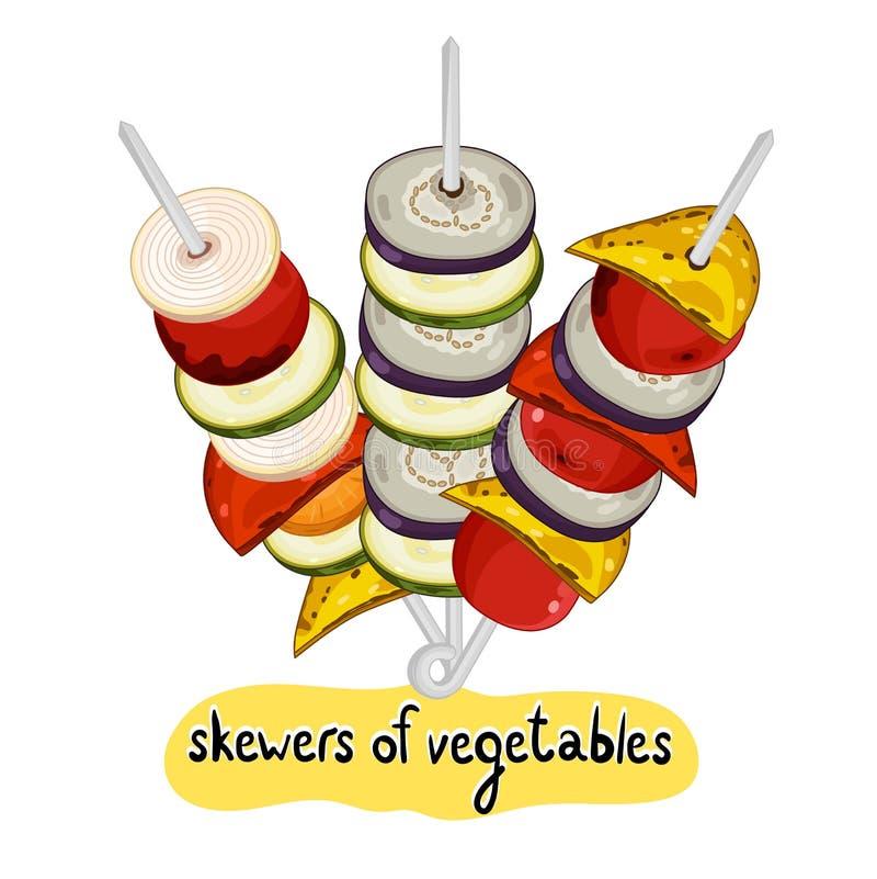 Asortowany wyśmienicie piec na grillu warzywo ilustracja wektor