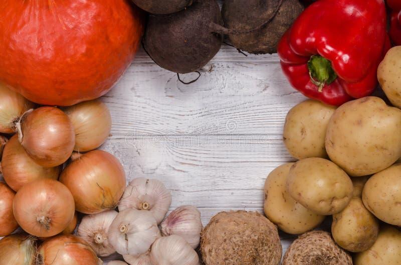 Asortyment świezi warzywa Bezpłatna przestrzeń w centrum dla teksta zdjęcia stock