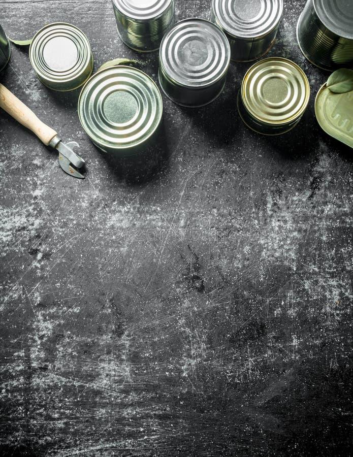 Asortyment blaszane puszki z konserwować jedzeniem obraz stock
