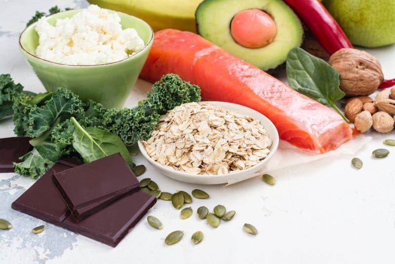 Asortyment jedzenie - naturalni źródła dopamine obraz royalty free