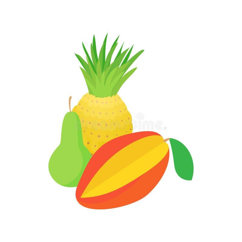 Asortyment owocowa ikona, kreskówka styl ilustracja wektor