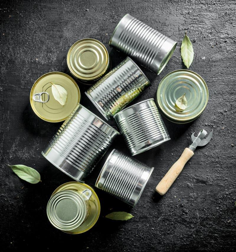 Asortyment różni typy blaszane puszki z konserwować jedzeniem zdjęcie stock