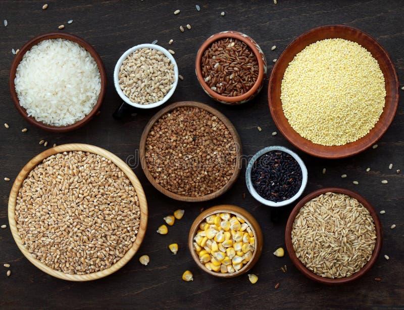 Asortyment różni zboża i ziarna w pucharze: banatka, owsy, jęczmień, ryż, jagła, gryka, kukurudza fotografia royalty free
