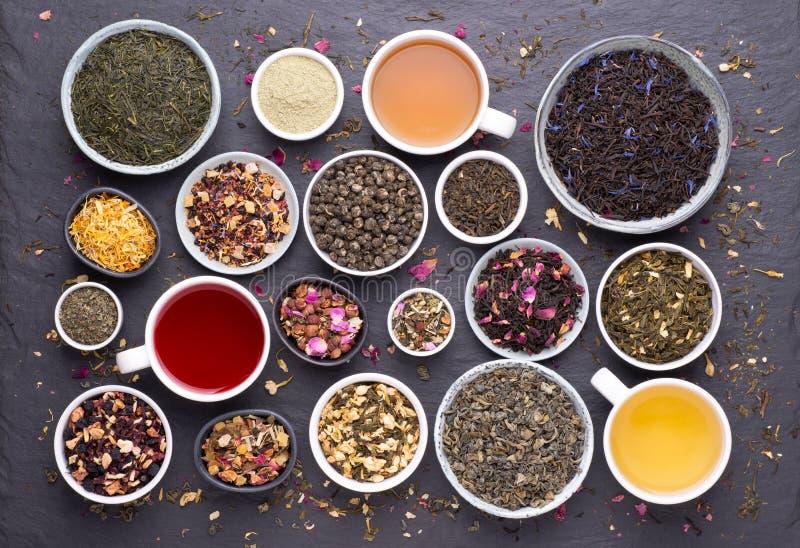 Asortyment suszonych liści herbaty, owoców i ziół w miseczkach i filiżankach herbaty zdjęcie stock