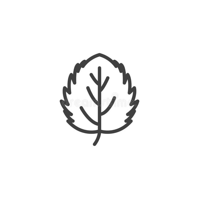 Asp- bladlinje symbol vektor illustrationer