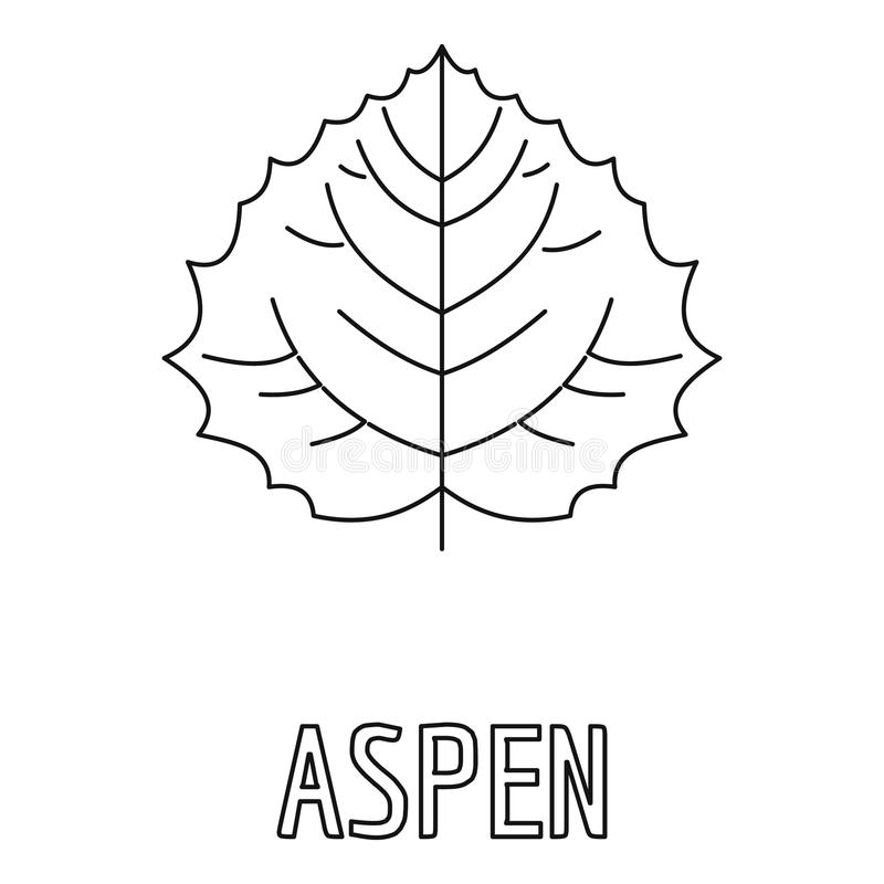Asp- bladsymbol, översiktsstil royaltyfri illustrationer