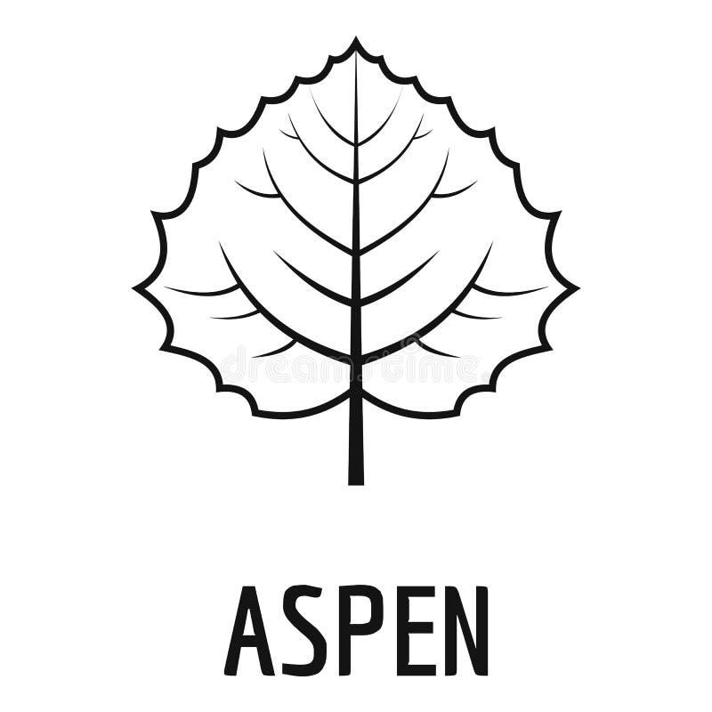 Asp- bladsymbol, enkel svart stil vektor illustrationer