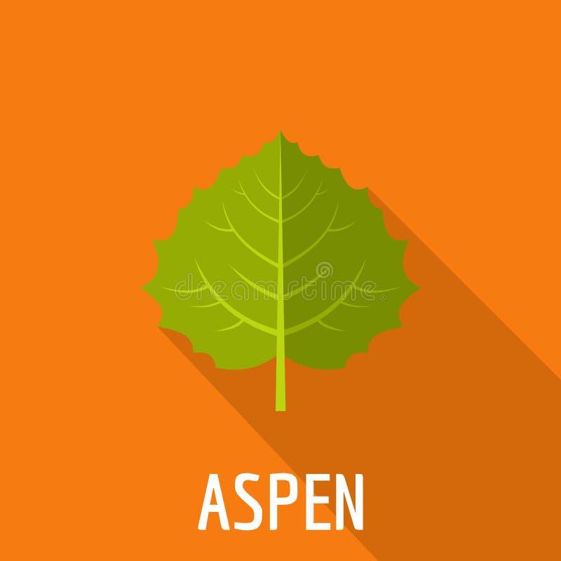 Asp- bladsymbol, lägenhetstil vektor illustrationer