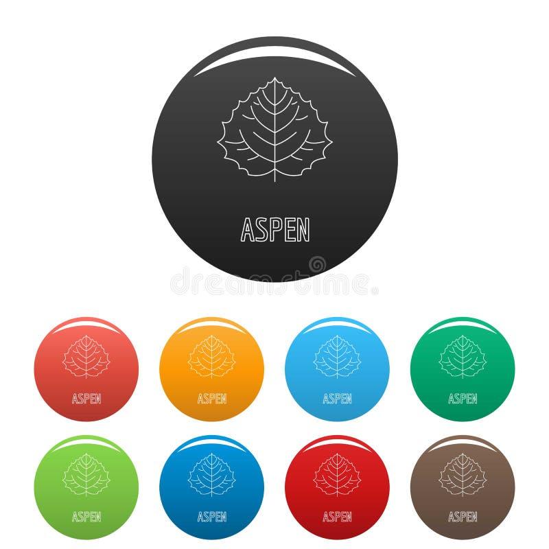 Asp- färg för bladsymbolsuppsättning vektor illustrationer