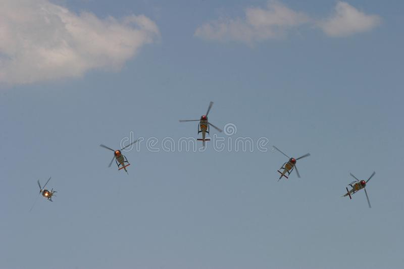 ASPA eurocopter acrobatic helicopters during airshow wide stock photo