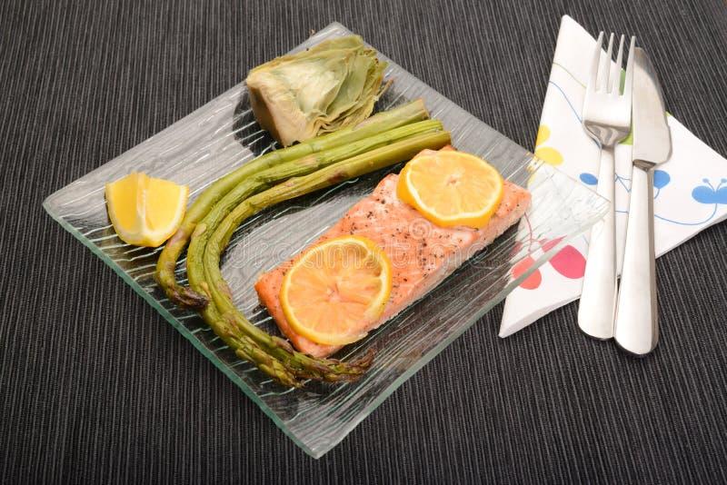 Asparagus,artichoke And Salmon Dish Stock Photo