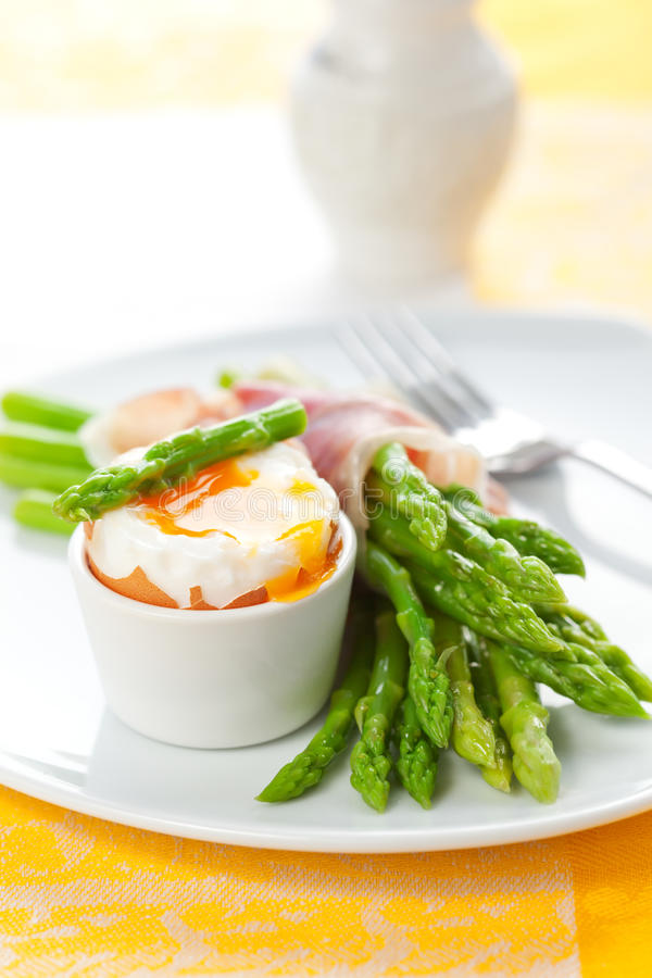 Download Asparagus ,egg and  ham stock photo. Image of prepared - 18847786