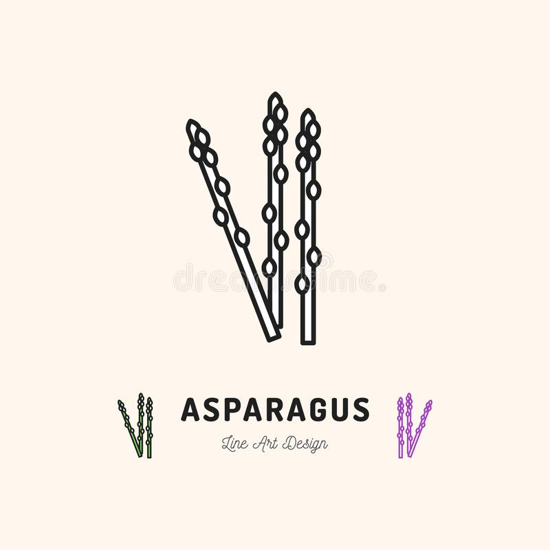 Asparagus icon Vegetables logo. Thin line art design royalty free illustration