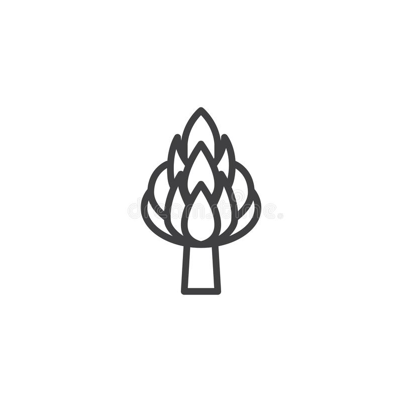 Asparagus line icon. Linear style sign for mobile concept and web design. Sparrow grass outline vector icon. Symbol, logo illustration. Vector graphics stock illustration