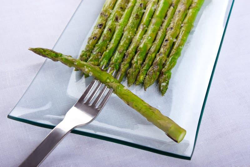 Asparagus and Maldon salt stock photography