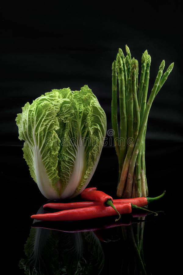 Asparagus pepper Chinese Cabbage royalty free stock photo