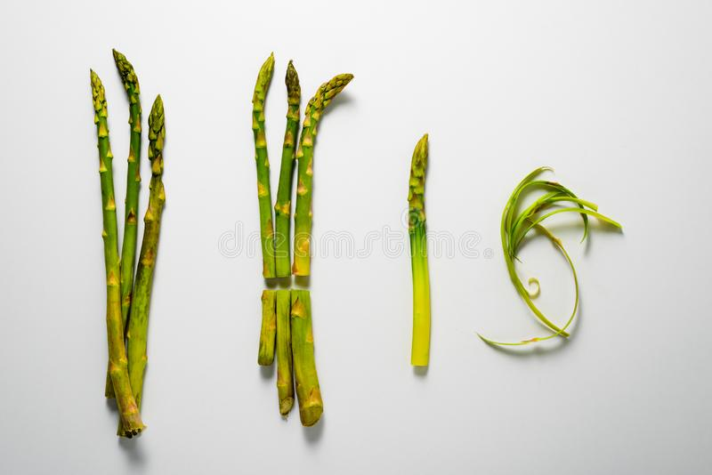 Asparagus preparation steps royalty free stock photography