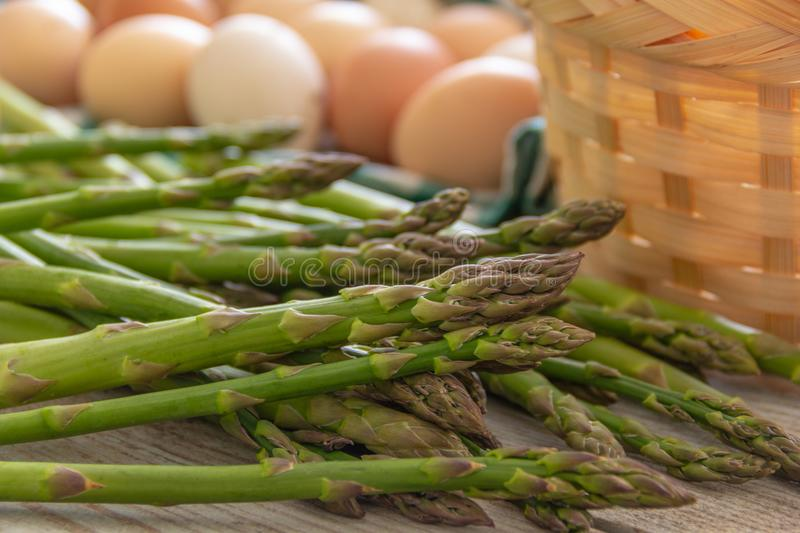 Asparagus, on the table royalty free stock photography