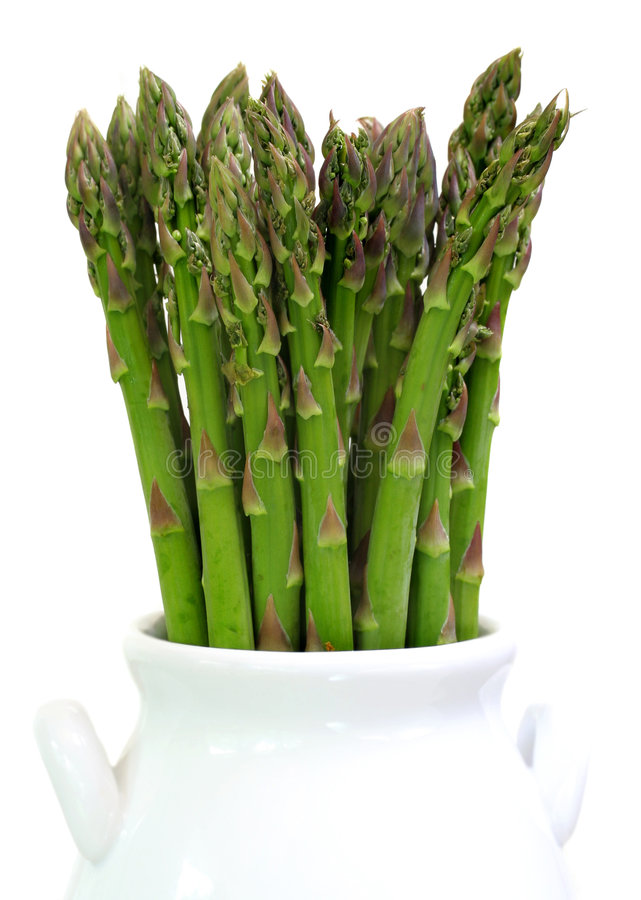 Asparagus Upright On White Stock Photo