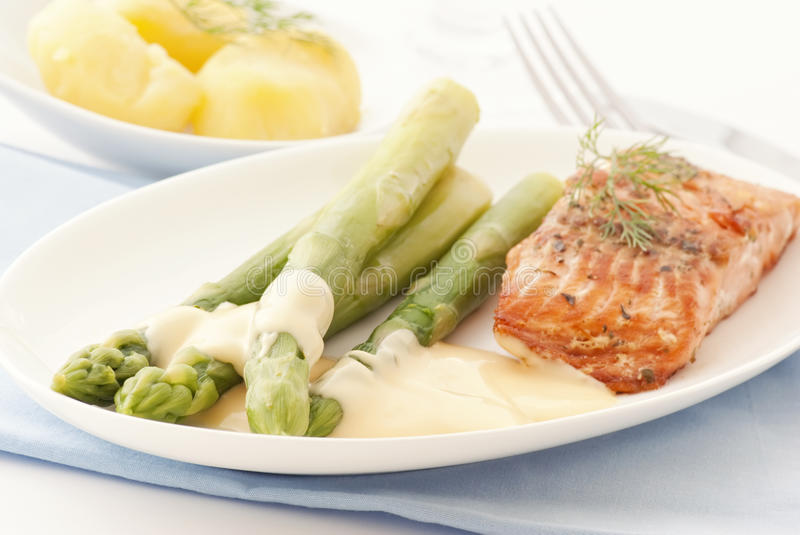 Asparagus with Wild Salmon stock image