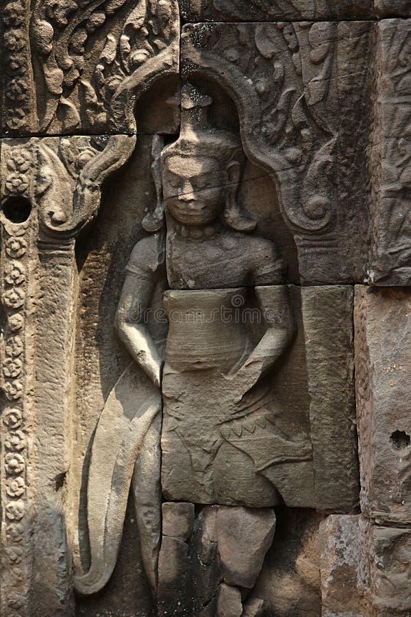 Asparas Angkor в виске bayon, Камбодже стоковая фотография